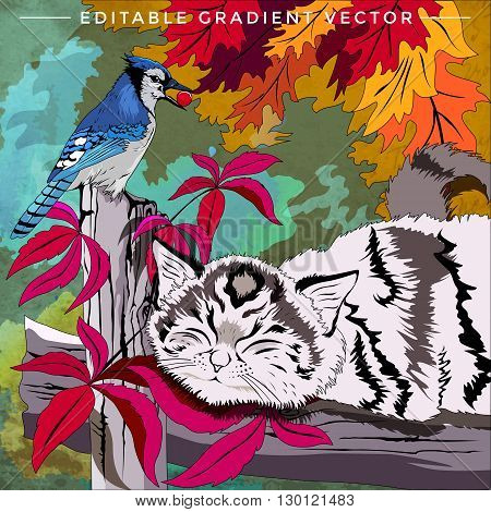 Kitten and bird. Vector illustration of a cat at home.