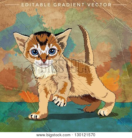 Funny Kitten. Vector illustration of a cat at home.