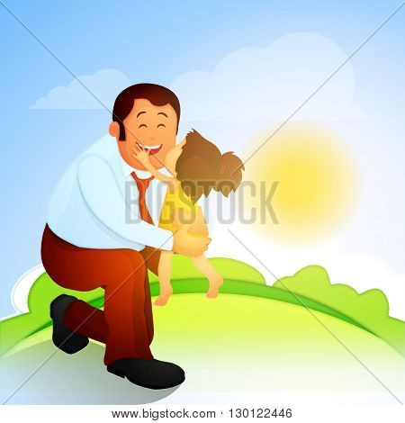 Cute little daughter kissing her father on beautiful nature background on occasion of Father's Day celebration.