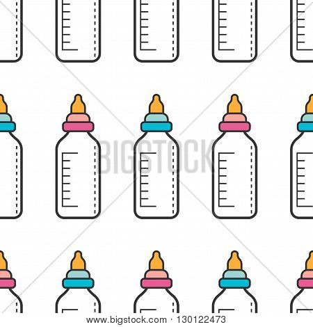 Seamless pattern with baby-feeding bottles of milk. Vector illustration