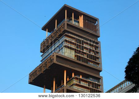 MUMBAI, INDIA - DECEMBER 6, 2015: World's second most expensive residential property, also known as Antilia, on December 6, 2015 in South Mumbai, India.