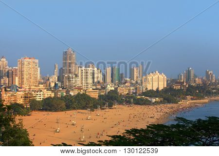 MUMBAI, INDIA - DECEMBER 6, 2015: Juhu beach in Mumbai is home to many Bollywood celebrities referred as