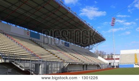 Empty Tribunes On Soccer Stadium