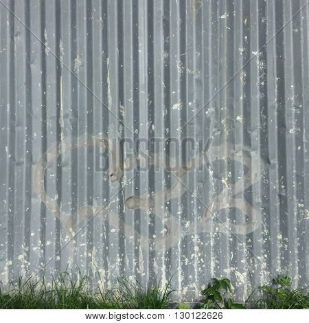 Grunge galvanized metal fence background