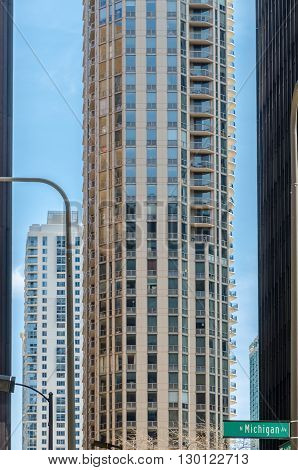 View of buildings on downtown Chicago. USA.
