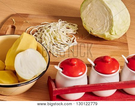 Sliced Cabbage. Slicing Cabbage.