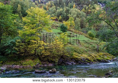 View of the mountain river. Norway. Europe.