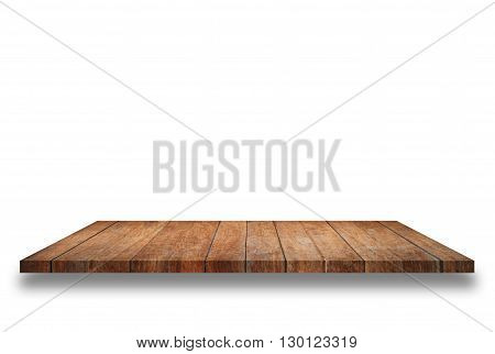 Empty top wooden shelf isolated on white background. For product display