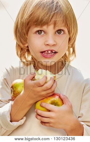 portrait of little handsome boy clasps apples by hands