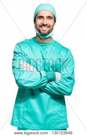 Portrait of a male surgeon. Isolated on white