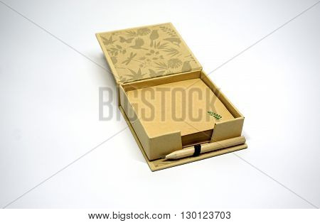 Recycled Paper and box isolated on white background