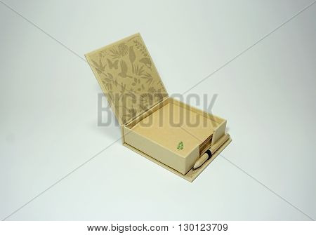 Pencil and Recycled Paper box isolated on white background