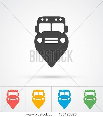 Trendy Bus marker pin icon for map. Vector illustration