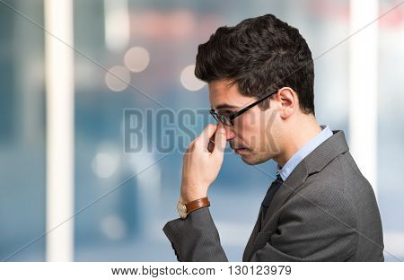 Portrait of a businessman focusing his mind