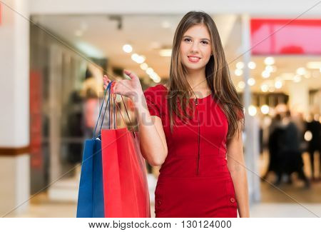 Woman shopping in a mall