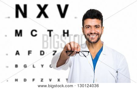 Oculist doing an eyesight test