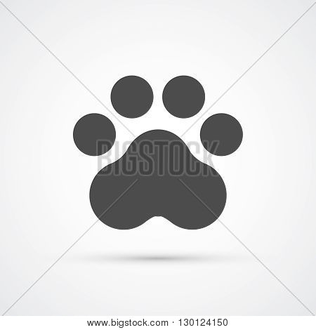 Footprint paw trendy flat icon.  Vector illustration