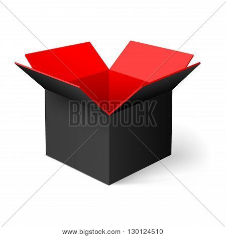 Black opened square box with red color inside
