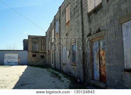 A boarded-up abandoned building in downtown Joliet, Illinois.
