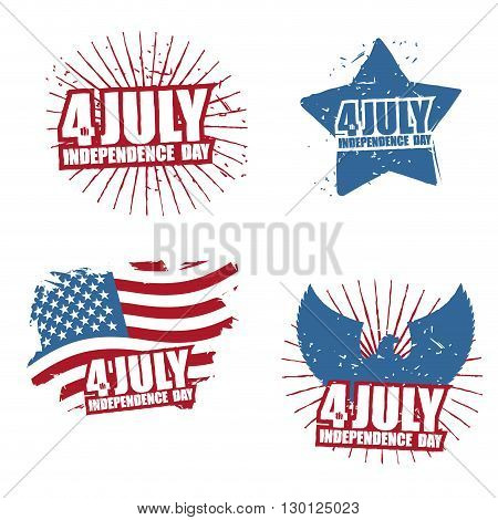 Grunge Sign For Independence Day In America. Star And Paint Splatter. Eagle With Wings. Statue Of Li