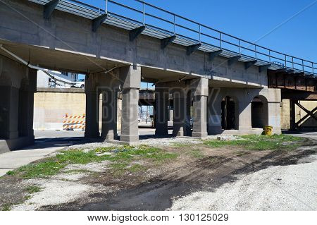 Trains may pass over a bridge in downtown Joliet, Illinois.