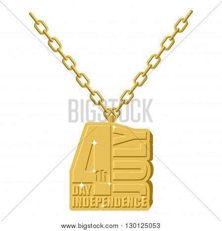 Independence Day America Gold Necklace Jewelry On Chain. Expensive Jewelry Symbol Of  Holiday In Uni
