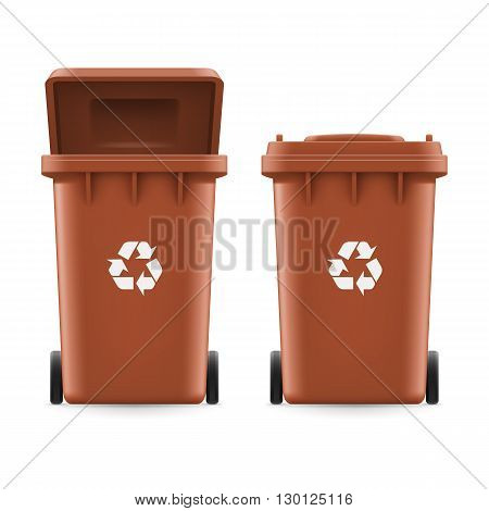 Set of brown buckets for trash with sign arrow