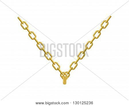 Gold Chain On His Neck Jewelry. Accessory Precious Yellow Metal