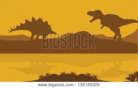 Silhouette of stegosaurus and parasaurolophus in riverbank