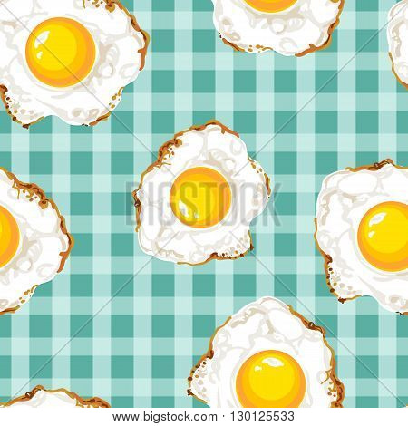 Seamless pattern with fried eggs. Bright colors, rich picture. Vector illustration. Can be used as a wallpaper, splash, textile print, wrapping paper. Kitchen towel.