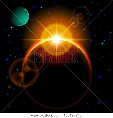 Space background. Dark planet with yellow radiance and bright flare among stars and other planets