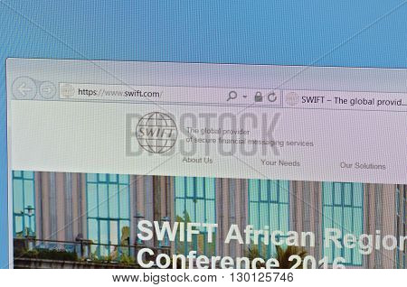 Saransk, Russia - May 15, 2016: A computer screen shows details of SWIFT(Society for Worldwide Interbank Financial Telecommunication) main page on May 15, 2016. Selective focus.