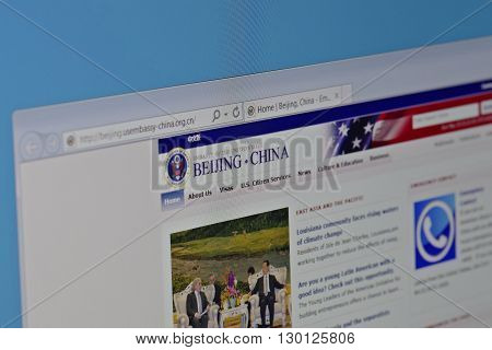Saransk, Russia - May 15, 2016: A computer screen shows details of Embassy of the United States in China main page on its web sites in Saransk, Russia, on May 15, 2016. Selective focus.