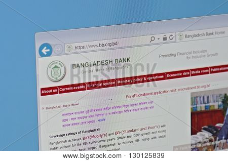 Saransk, Russia - May 15, 2016: A computer screen shows details of Bangladesh Bank main page on May 15, 2016. Selective focus.
