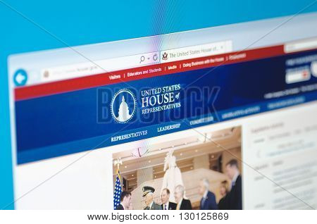 Saransk, Russia - May 15, 2016: A computer screen shows details of The United States House of Representatives main page on its web sites in Saransk, Russia, on May 15, 2016. Selective focus.