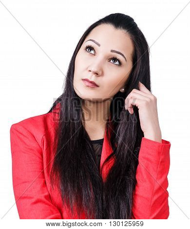 Young thoughtful woman isolated on white background