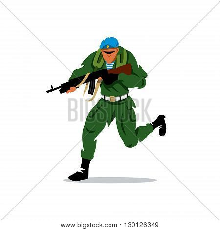 Paratrooper running with assault rifle. Isolated on a white background