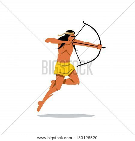 Redskin Warrior jumps and shoots. Isolated on a white background