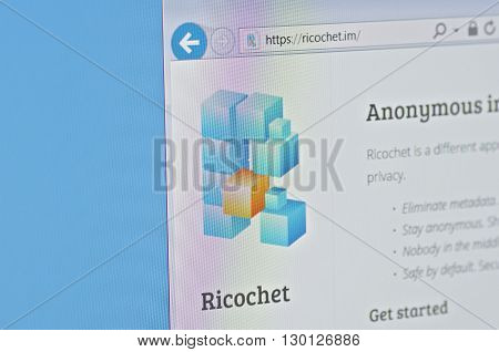 Saransk, Russia - CIRCA, 2016: A computer screen shows details of Ricochet main page on its web sites