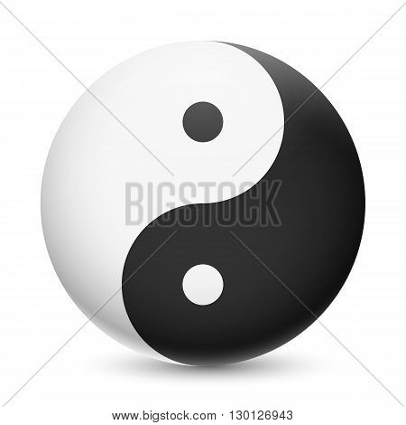 Yin and Yang symbol on white background. Harmony and balance of opposites