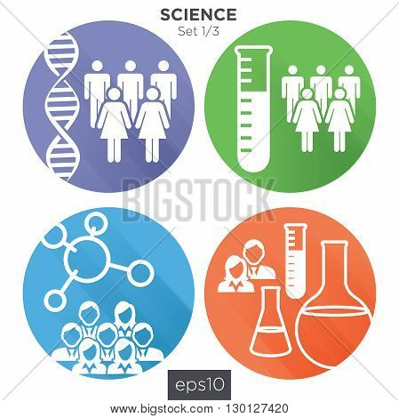 1/3 Round Medical Healthcare Icons with People Charting Disease or Scientific Discovery