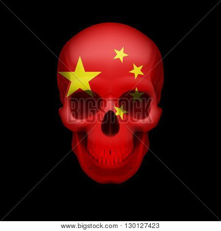 Human skull with flag of China. Threat to national security war or dying out