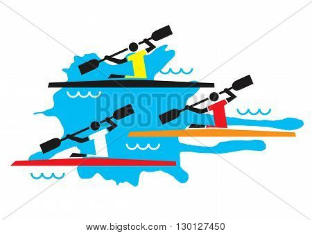Stylized illustration of three kayaking competitors. Vector available.