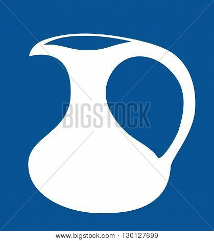 Milk jug silhouette. Isolated on blue background