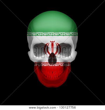 Human skull with flag of Iran. Threat to national security war or dying out