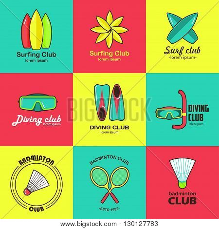 Summer activity set of flat logos. Summer sports, surfing, diving, badminton. It can be used in advertising, web design, graphic design.