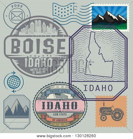 Stamp set with the name and map of Idaho, United States, vector illustration