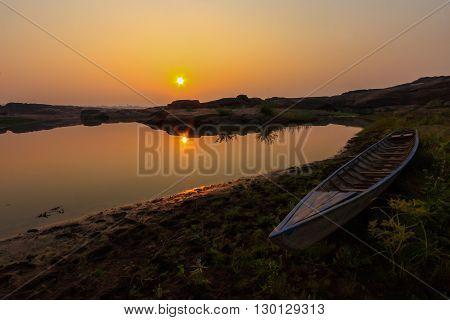 boat at the lake with sunrise / the lake at Sam Phan Bok