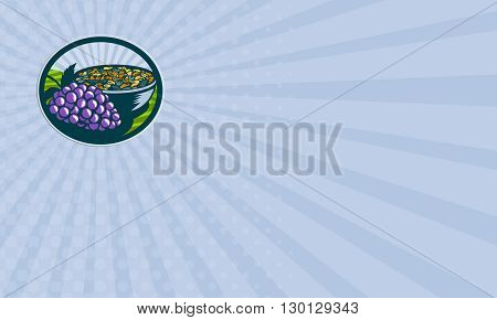 Business card showing illustration of a bunch of grapes and raisins in a bowl set inside oval shape with sunburst in the background done in retro woodcut style.