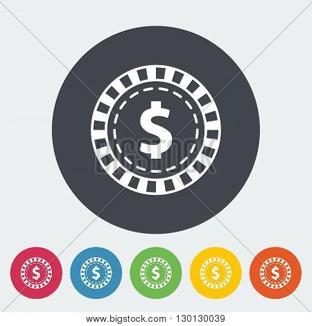 Gambling chips. Single flat icon on the circle button. Vector illustration.